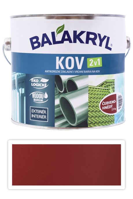 BALAKRYL Kov 2v1 - vodou ředitelná antikorozní barva na kov 2.5 l Červenohnědá 0840
