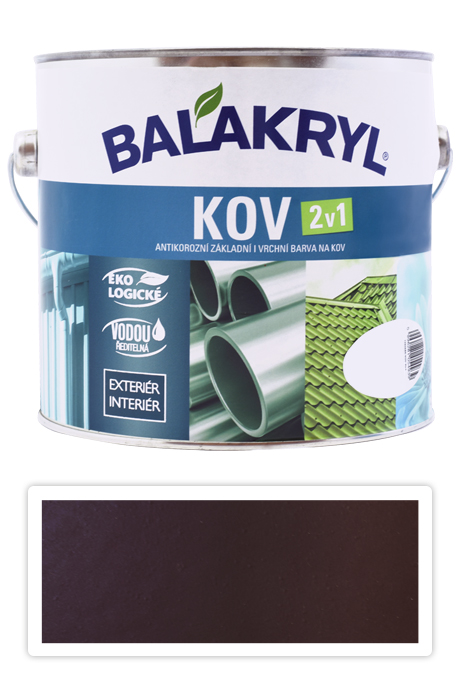 BALAKRYL Kov 2v1 - vodou ředitelná antikorozní barva na kov 2.5 l Tmavě hnědá 0240