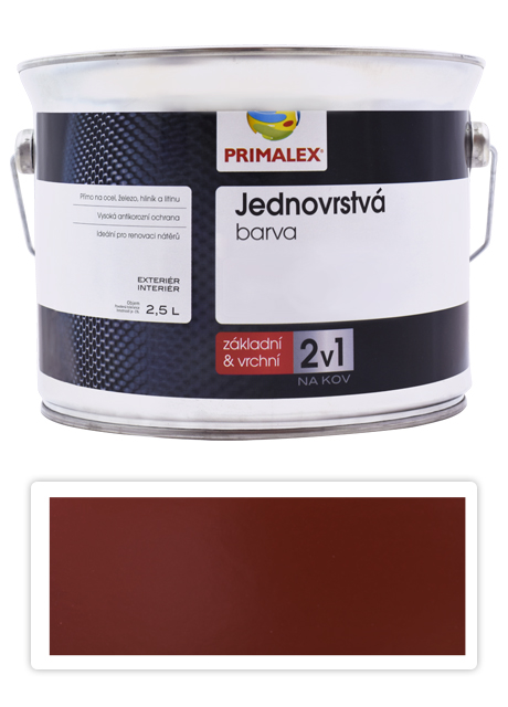 PRIMALEX 2v1 - syntetická antikorozní barva na kov 2.5 l Červenohnědá RAL 8012