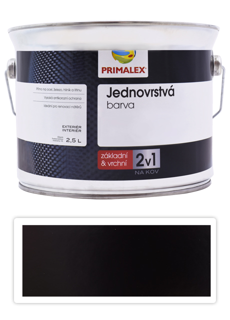 PRIMALEX 2v1 - syntetická antikorozní barva na kov 2.5 l Černá RAL 9005