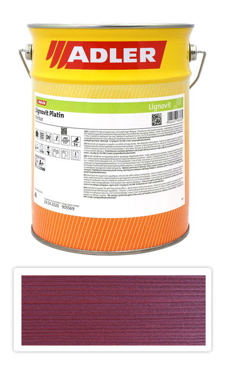 ADLER Lignovit Platin - vodou ředitelná lazura na dřevo 4 l Rubinrot 53297