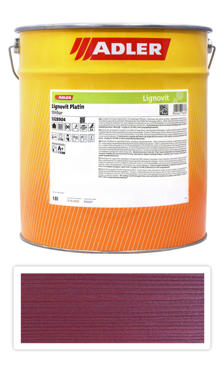ADLER Lignovit Platin - vodou ředitelná lazura na dřevo 18 l Rubinrot 53297