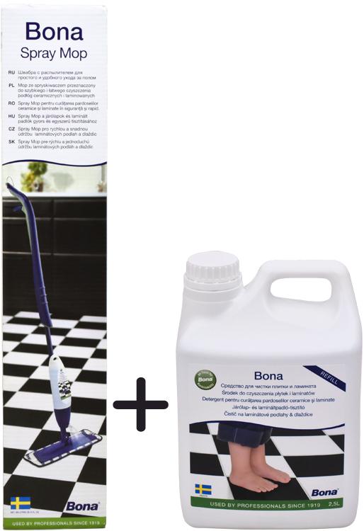 BONA Spray Mop na laminátové podlahy a dlaždice + čistič 2.5 l ZDARMA